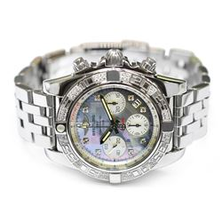 Breitling Mens Chronomat Stainless Steel 41mm Mother of Pearl Diamond Dial Watch