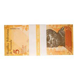 Pack of (100) Uncirculated 2007 Venezuela 5 Bolivares Bank Notes