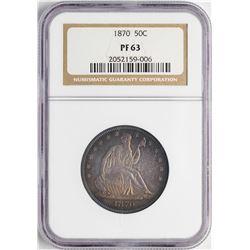 1870 Proof Seated Liberty Half Dollar Coin NGC PF63