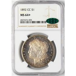 1892-CC $1 Morgan Silver Dollar Coin NGC MS64+ CAC