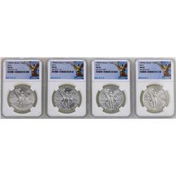 Lot of (2) 1982Mo & (2) 1983Mo Mexico Libertad Onza Silver Coins NGC MS66