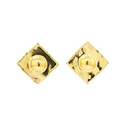 22KT Yellow Gold Square Fashion Clip Earrings