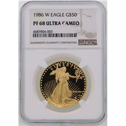 1986-W $50 American Gold Eagle Coin NGC PF68 Ultra Cameo