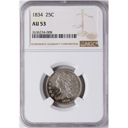 1834 Capped Bust Quarter Coin NGC AU53