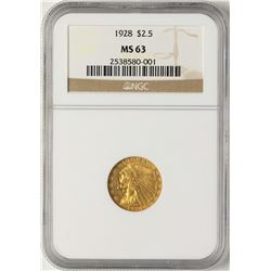 1928 $2 1/2 Indian Head Quarter Eagle Gold Coin NGC MS63
