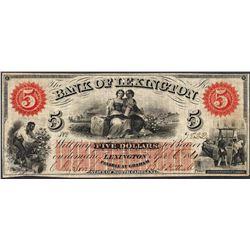 1861 $5 Bank of Lexington North Carolina Obsolete Note