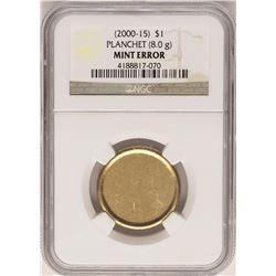 2000-15 $1 Blank Planchet Sacagawea Dollar Coin NGC Mint Error
