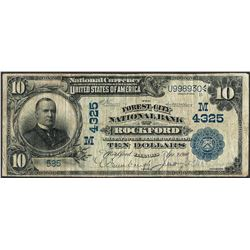 1902 $10 The Forrest City NB Rockford, IL CH# 4325 National Currency Note