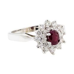 14KT White Gold 0.60 ctw Diamond and Ruby Ring