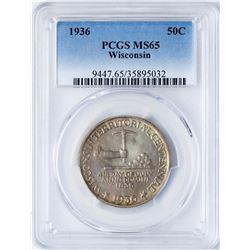 1936 Wisconsin Centennial Commemorative Half Dollar Coin PCGS MS65 Amazing Color