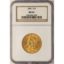 1882 $10 Liberty Head Eagle Gold Coin NGC MS62