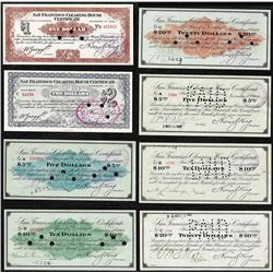 Set of (8) 1907 San Francisco Clearing House Stock Certificates