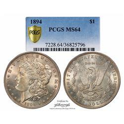 1894 $1 Morgan Silver Dollar Coin PCGS MS64