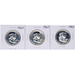 Lot of (3) 1963 Proof Franklin Half Dollar Coins