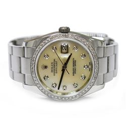 Rolex Datejust Stainless Steel 36mm Mother of Pearl Diamond Dial Watch