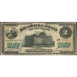 March 4, 1871 $2 Brunswick & Albany Railroad Company Obsolete Note
