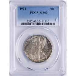 1934 Walking Liberty Half Dollar Coin PCGS MS63