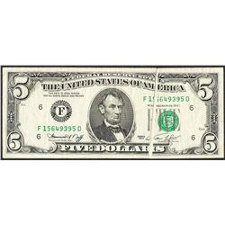 1974 $5 Federal Reserve Note Gutter Fold ERROR Note