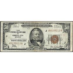 1929 $50 Federal Reserve Note Kansas City
