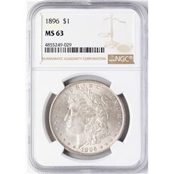 1896 $1 Morgan Silver Dollar Coin NGC MS63