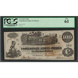 1862 $100 Confederate States of America Note T-39 PCGS New 61