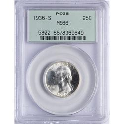 1936-S Washington Silver Quarter Coin PCGS MS66