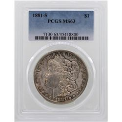 1881-S $1 Morgan Silver Dollar Coin PCGS MS63 NICE TONING