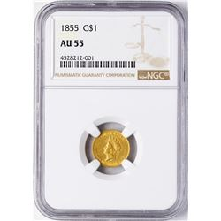 1855 $1 Indian Princess Head Gold Dollar Coin NGC AU55