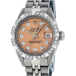 Rolex Ladies Stainless Steel Salmon Pyramid Diamond Datejust Wristwatch
