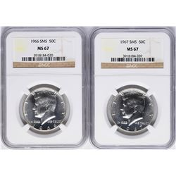 Lot of 1966 & 1967 SMS Kennedy Half Dollar Coins NGC MS67