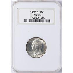 1937-D Washington Quarter Coin NGC MS65 Old Holder