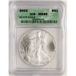 2002 $1 American Silver Eagle Coin ICG MS69