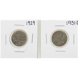 Lot of 1929 & 1931-S Buffalo Nickel Coins