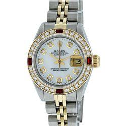 Rolex Ladies Two Tone MOP Diamond & Ruby Datejust Wristwatch