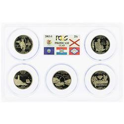 Set of 2003-S (5) Coin Proof State Quarter Coins PCGS PR69DCAM