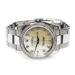 Rolex Oyster Perpetual Stainless Steel 36mm Mother of Pearl Diamond Dial Watch