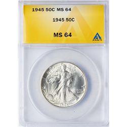 1945 Walking Liberty Half Dollar Coin ANACS MS64