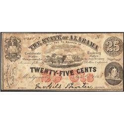 1863 State of Alabama Twenty-Five Cents Obsolete Note