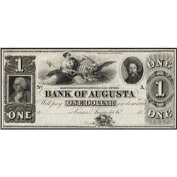 1800's $1 Bank of Augusta Georgia Obsolete Note