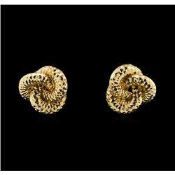 14KT Yellow Gold Diamond Cut Interlocking Circle Earrings