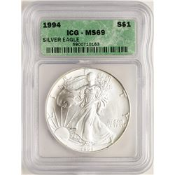 1994 $1 American Silver Eagle Coin ICG MS69