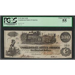 1862 $100 Confederate States of America Note T-39 PCGS About New 55