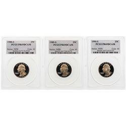 Set of 1988-S to 1990-S Washington Quarter Coins PCGS PR69DCAM