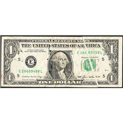 1985 $1 Federal Reserve Note Gutter Fold ERROR Note