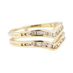 14KT Yellow Gold 0.40 ctw Diamond Double Chevron Ring