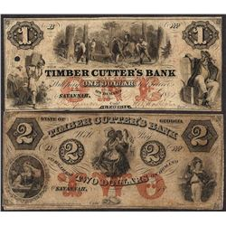 Lot of $1 & $2 Timber Cutter's Bank Georgia Obsolete Notes