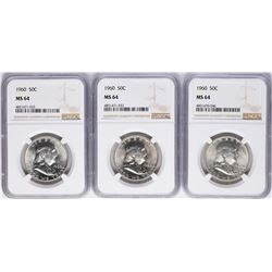 Lot of (3) 1960 Franklin Half Dollar Coins NGC MS64