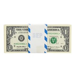 Pack of (100) Consecutive 1999 $1 Federal Reserve STAR Notes St. Louis