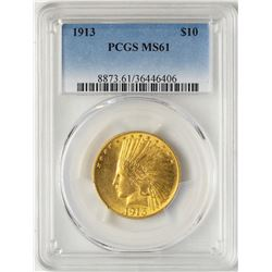 1913 $10 Indian Head Eagle Gold Coin PCGS MS61