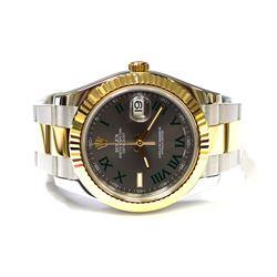 Rolex Mens Datejust II 18KT Yellow Gold & Steel 41mm Silver Roman DialWatch